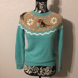 Talbots Cozy Bird and Snowflakes Sweater